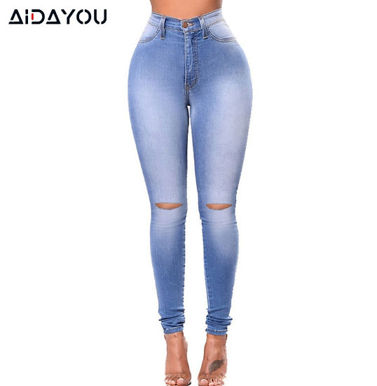 Women Jeans Ripped Stretch Plus Size High Waisted  Boyfriend Jeans With Hole