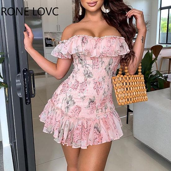 Women Sexy Floral Print Ruffles Off Shoulder Shirring Dress Party Dress  Elegant
