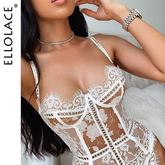 Ellolace Corset Lingerie Set Sexy Bra and Thong Underwear Set See Through