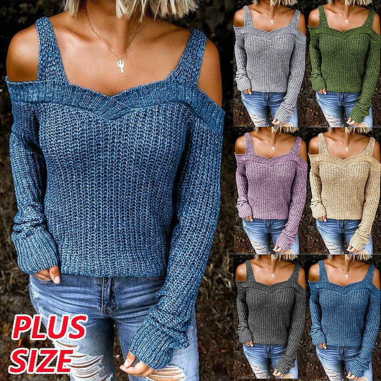 Womens Sweaters Sexy Off Shoulder Solid Color Knitted Sweaters Casual Long