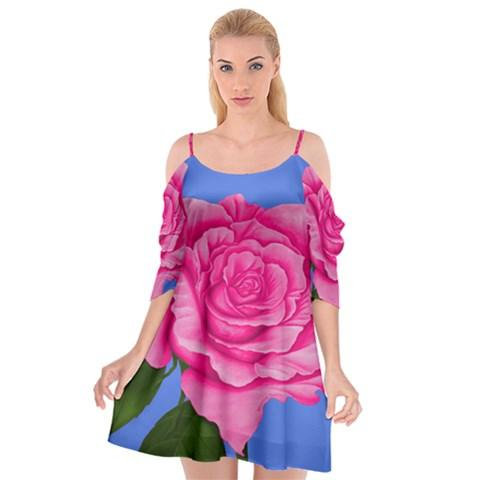 Roses Pink Dress Summer Spaghetti Strap Drop Sleeve Chiffon Dress