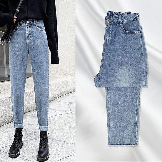 Women Mom Jeans Cargo Pants High Waist Ripped Black Jean Streetwear Straight