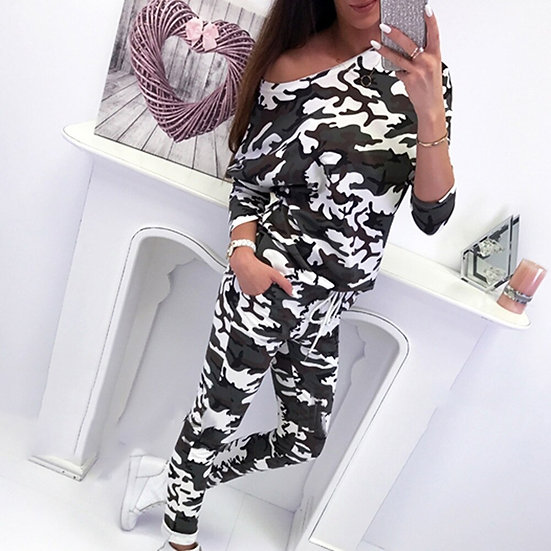 Womens 2PCS CamouflageTracksuits Sets Casual Super Soft Lounge Wear Ladies Top