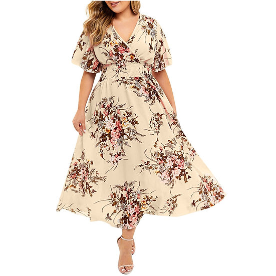 JAYCOSIN 2019 Summer New Elegant Dresses Women Summer Short Sleeve Plus Size