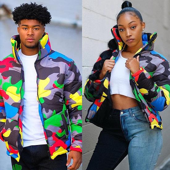 2019 Camo Print Winter Jacket Women Festival Warm Parka Down Bubble Coat Top