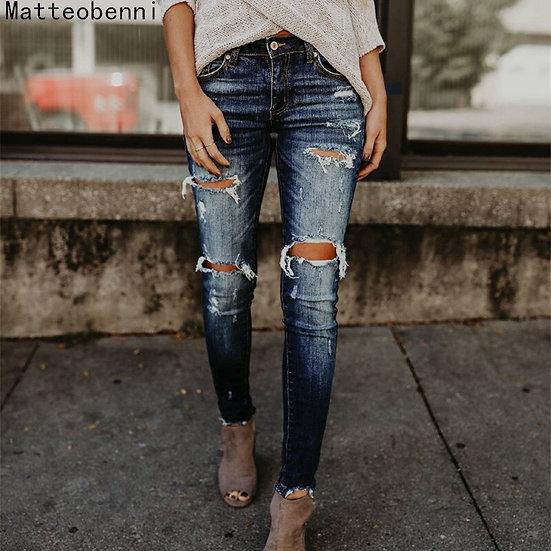 Boyfriend Hole Ripped Jeans Women Pants Cool Denim Vintage Skinny Push Up Jeans