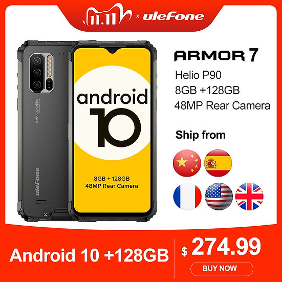 Ulefone Armor 7 Rugged Mobile Phone Android 10  2.4g/5g WiFi 8GB+128GB Helio P90