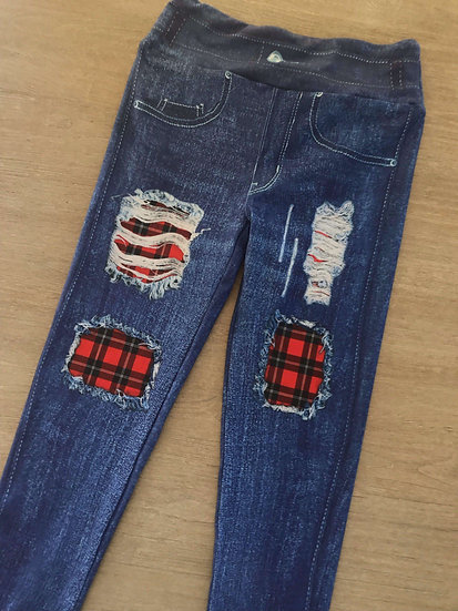 Buffalo Plaid Patch Jean Printed Leggings - SPECIAL