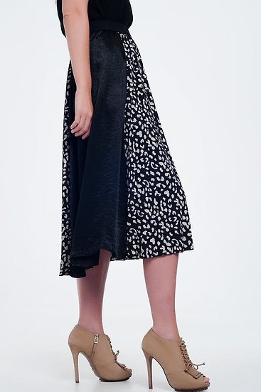 Midi Black Skirt in Dalmation Spot