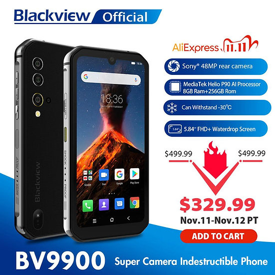 Blackview BV9900 Helio P90 Octa Core 8GB+256GB IP68 Rugged Mobile Phone Android