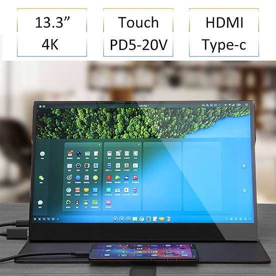 13.3 Inch 4K HDR10 HDMI Type-C Touch Monitor for Smart Phone Switch