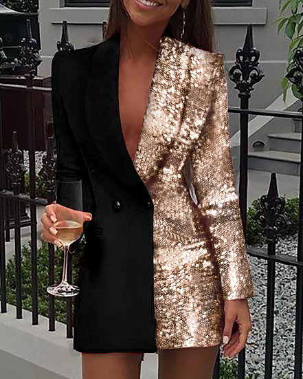 Women Sequined Patchwork Blazer Dress Colorblock Sequins Long Sleeve Dress