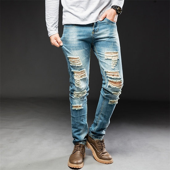 2020New Men Jeans Hole Ripped Stretch Destroyed Hip Hop Jean Homme Masculino