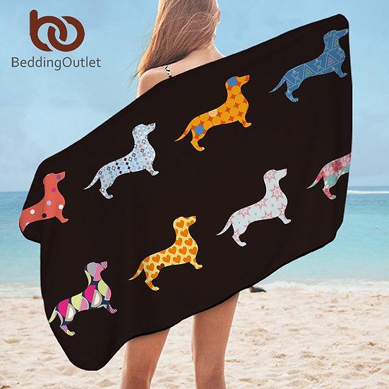 BeddingOutlet Dachshund Bath Towel Bathroom Puppy Microfiber Beach Towel