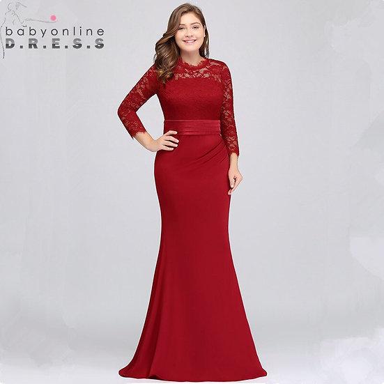 US Stock Plus Size Lace Mermaid Long Evening Dress Elegant 3/4 Sleeve Evening Go