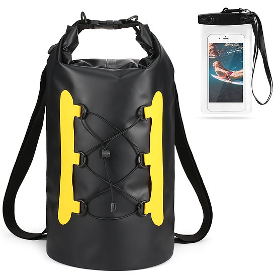 15L Waterproof Dry Bag With Phone Case Swimming Bag Roll Top Dry Sack Backpack