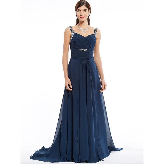Dressv Dark Navy Long Evening Dress Cheap Beading Ruched Sleeveless Wedding Part