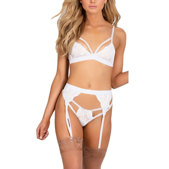Summer Women's Sexy Lingerie New Sexy Deep v Thong Three-Piece Sexy Lingerie