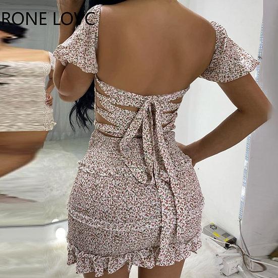 Women Floral Bandage Backless Frill Hem Shirring Design Casual Dress  Elegant