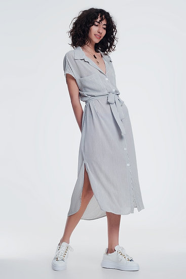 Stripe Cream Belted Shirt Dress