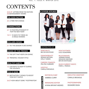 Magazine Table of Contents pg