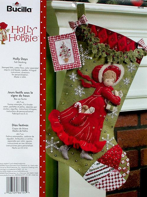 "Holly Hobbie ""Holly Days"" Felt Stocking Kit Bucilla Plaid."