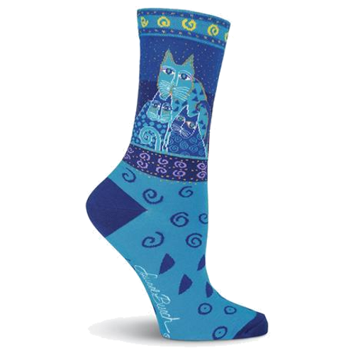 Laurel Burch Blue Feline Women's Sock
