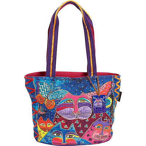 Cats with Butterflies Oval Bottom Medium Tote Handbag by Laurel Burch