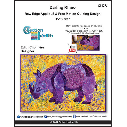 Darling Rhino, Pattern, By Edith Choiniere - Designer