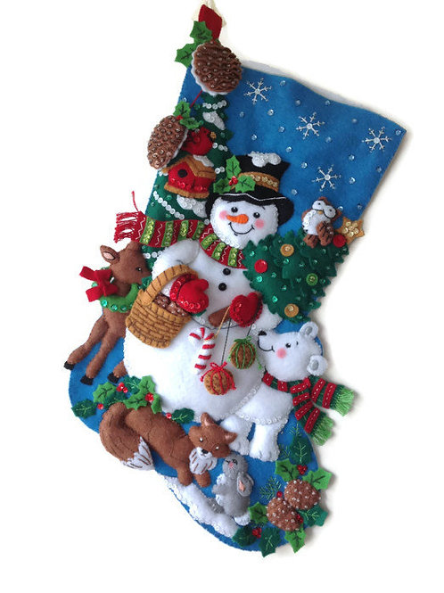 Woodland Snowman Felt Stocking Kit by Bucilla Plaid