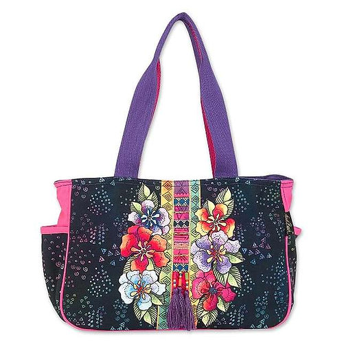 Floral Stacked Medium Tote By Laurel Burch