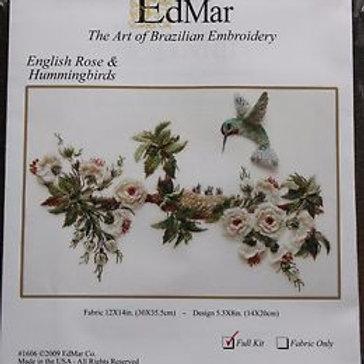 English Rose & Hummingbirds Edmar Brazilian Embroidery Kit