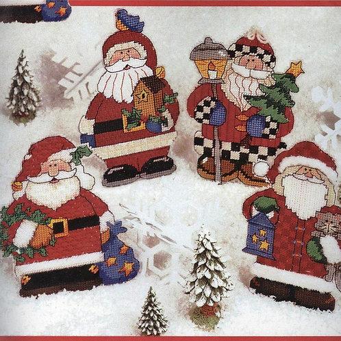 Four Jolly Santa Ornaments Needlepoint Kit
