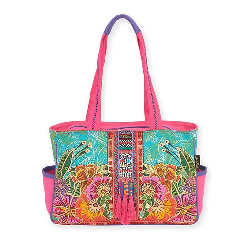 Flora Floral Medium Pocket Tote By Laurel Burch