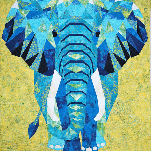 Elephant Abstractions Tiffany Blue Fabric & Pattern Kit