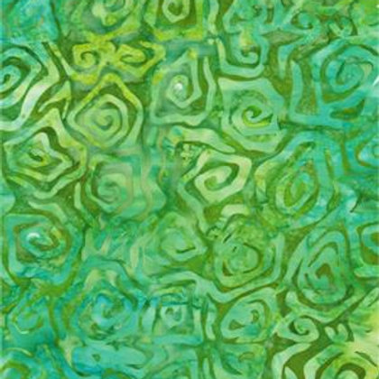 Bali Batik Medium Green Square Swirls 1 M X 1Y