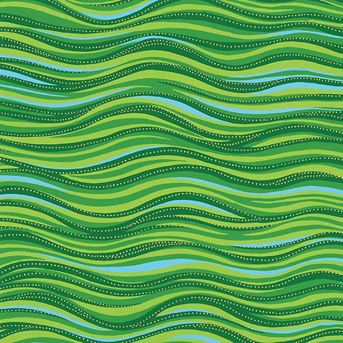 Laurel Burch Green Serpentine Striped Metallic Fabric 1M X 1 Y