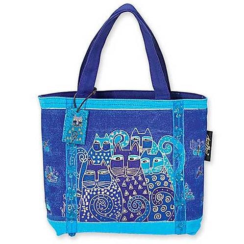 Indigo Cats Small Tote Handbag by Laurel Burch