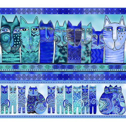 Laurel Burch Feline Frolic Blue Fabric 1Y X 1M