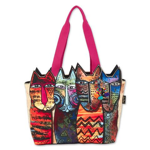 Wildest Cats Cutout Small Tote By Laurel Burch