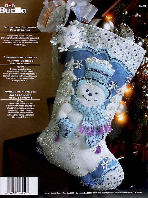 Snowflake Snowman Felt Stocking Kit by Bucilla Plaid