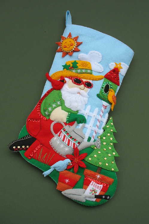 Gardening Santa Stocking by Dimensions