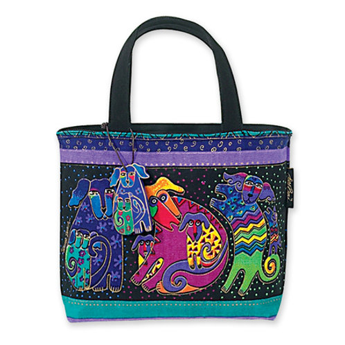Dogs and Doggies Small Tote Handbag Purse By Laurel Burch