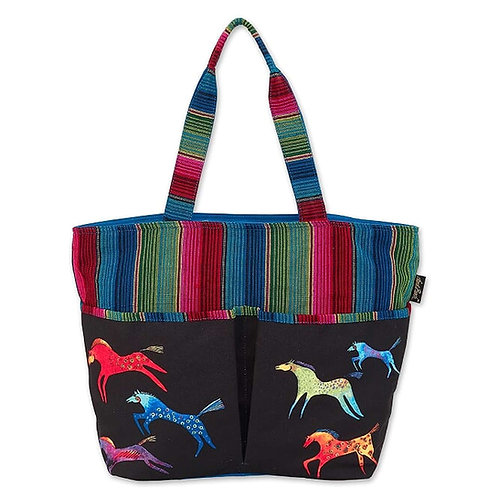 Dancing Horses Shoulder Tote By Laurel Burch
