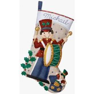 Toy Soldier Felt Stocking Kit by Bucilla Plaid