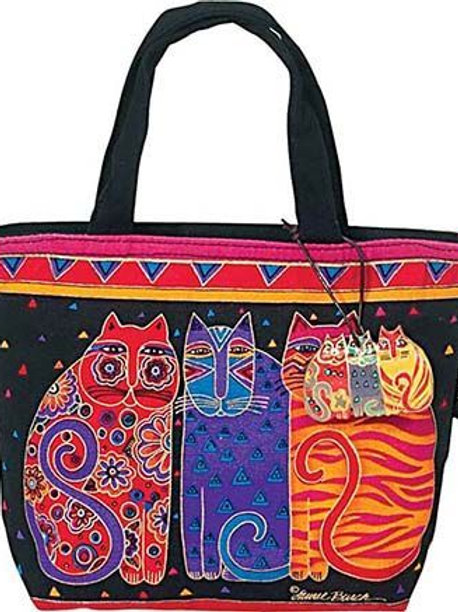 Feline Friends Small Handbag Tote Purse By Laurel Burch