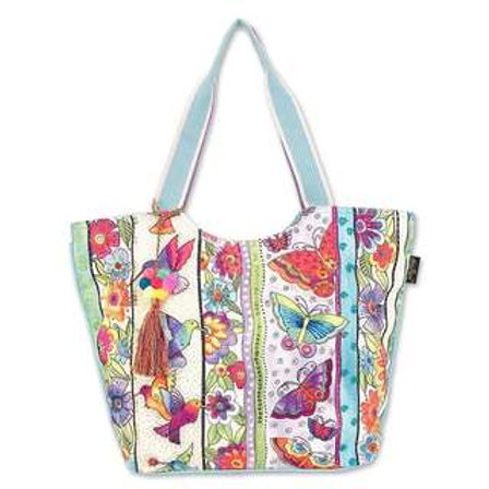 Butterfly Floral Shoulder Tote By Laurel Burch