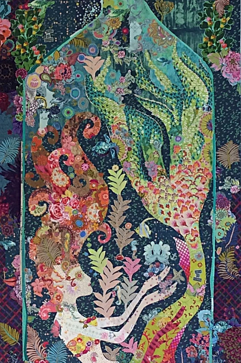 Sirene Mermaid ina bottle collage pattern by Laura Heine