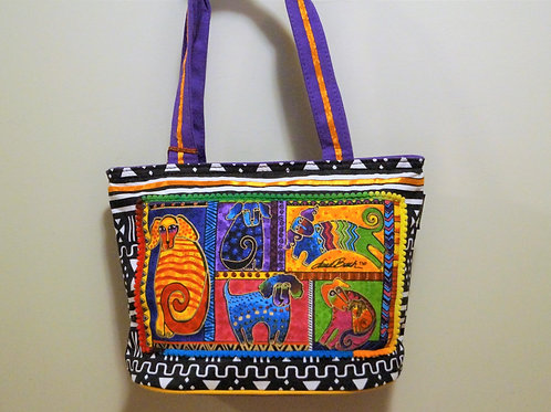 Dogtail Patchwork Medium Tote Oval Bottom by Laurel Burch