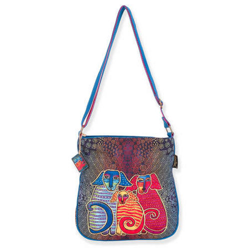 Doggie Dog Family Cross Body Tote By Laurel Burch